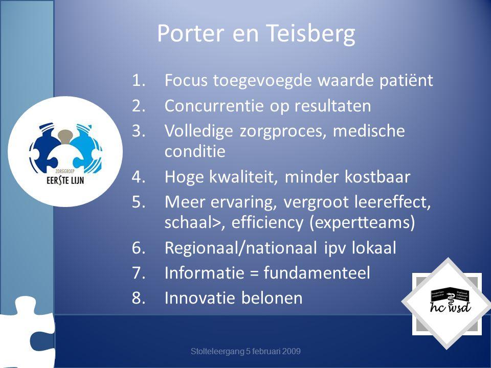 Stolteleergang 5 februari 2009 Porter en Teisberg 1.Focus toegevoegde waarde patiënt 2.Concurrentie op resultaten 3.Volledige zorgproces, medische conditie 4.Hoge kwaliteit, minder kostbaar 5.Meer ervaring, vergroot leereffect, schaal>, efficiency (expertteams) 6.Regionaal/nationaal ipv lokaal 7.Informatie = fundamenteel 8.Innovatie belonen