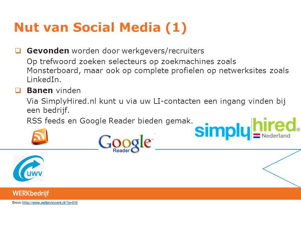 Nut van Social Media (1)  Gevonden worden door werkgevers/recruiters Op trefwoord zoeken selecteurs op zoekmachines zoals Monsterboard, maar ook op c