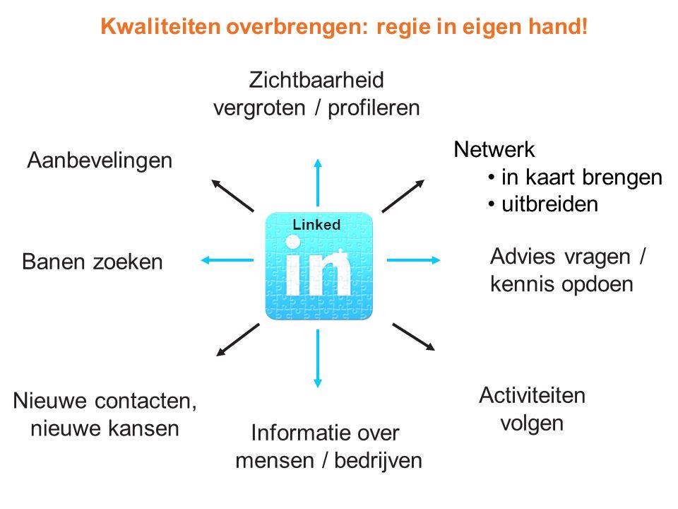 Linked Zichtbaarheid vergroten / profileren Netwerk in kaart brengen uitbreiden Advies vragen / kennis opdoen Informatie over mensen / bedrijven Banen