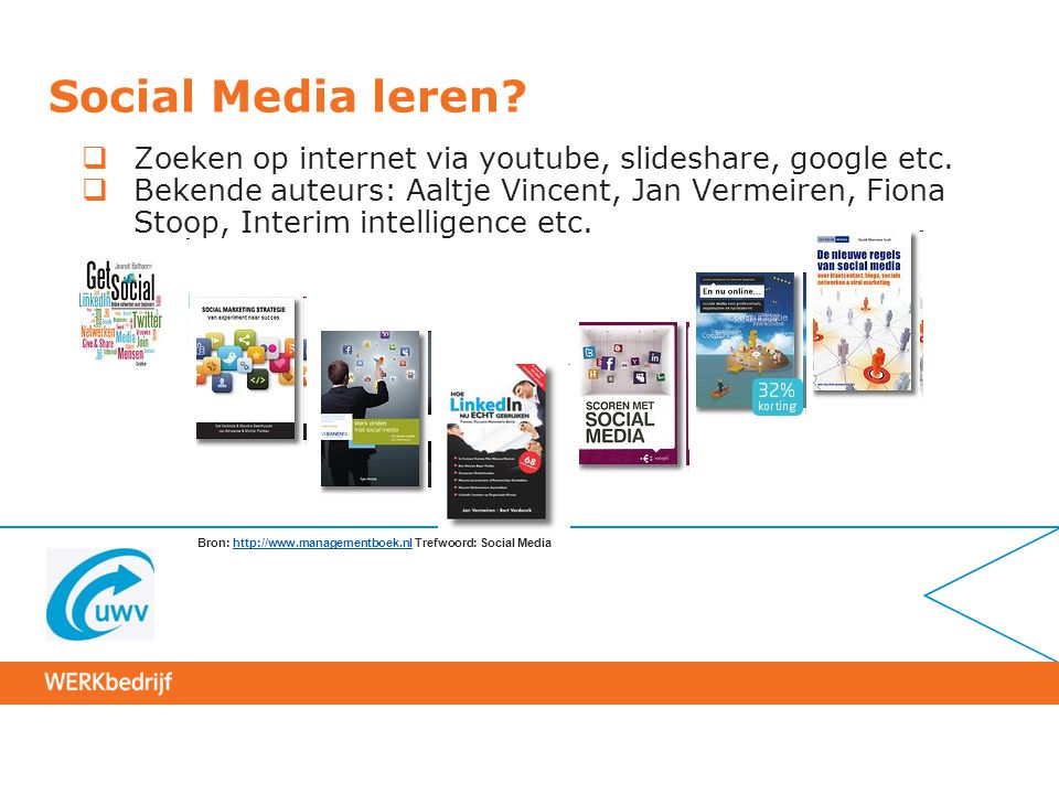 Social Media leren?  Zoeken op internet via youtube, slideshare, google etc.  Bekende auteurs: Aaltje Vincent, Jan Vermeiren, Fiona Stoop, Interim i