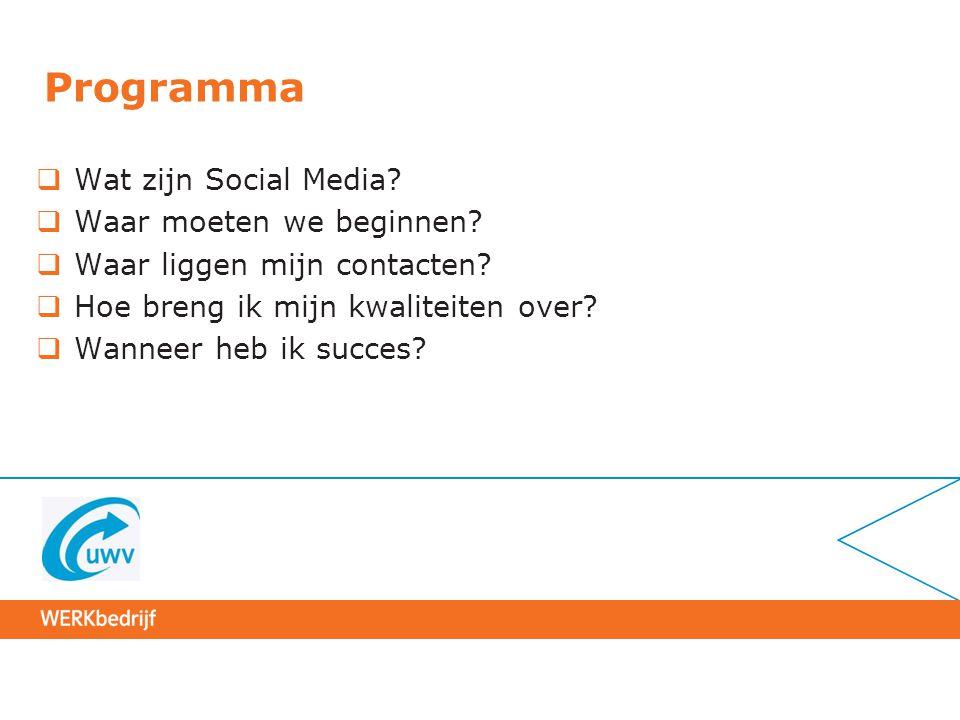 Programma  Wat zijn Social Media?  Waar moeten we beginnen?  Waar liggen mijn contacten?  Hoe breng ik mijn kwaliteiten over?  Wanneer heb ik suc