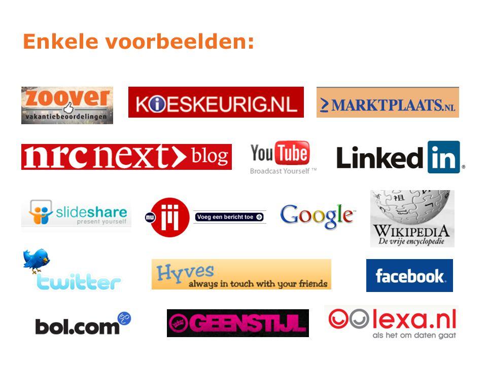 Normale vs Social Media  Tijdschriften  Kranten  Boeken  Catalogussen  Foto's  Televisie, Radio  Blogs  Twitter  Netwerksites (LinkedIn)  Nieuws sites (Nu.nl)  Wiki's (Wikipedia)  Video's (Youtube)  Foto's (Flickr, Picasa)