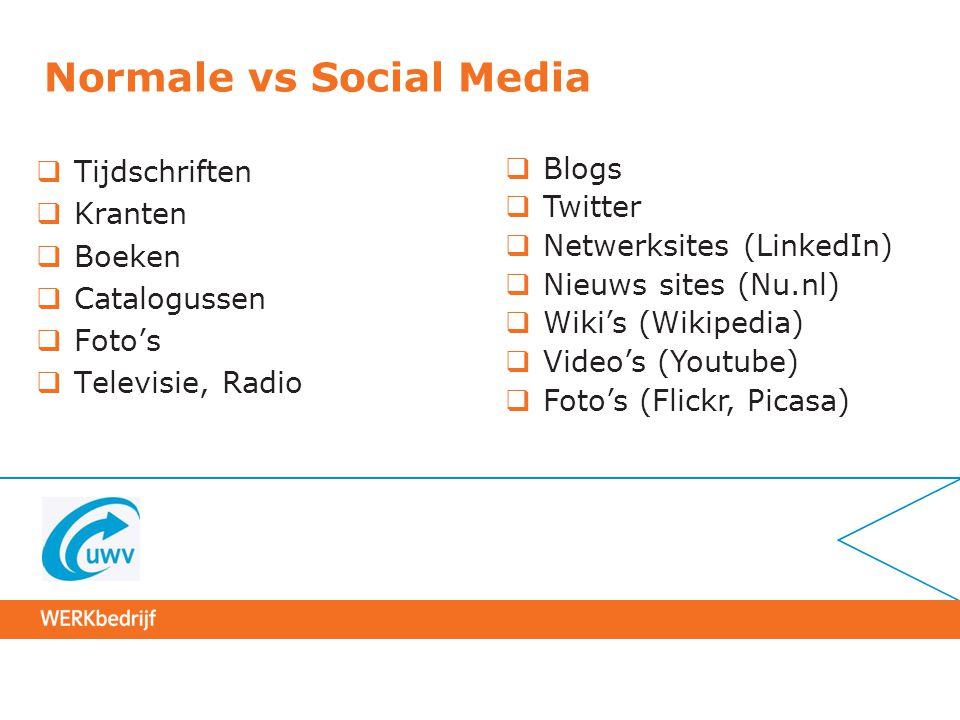 Normale vs Social Media  Tijdschriften  Kranten  Boeken  Catalogussen  Foto's  Televisie, Radio  Blogs  Twitter  Netwerksites (LinkedIn)  Ni