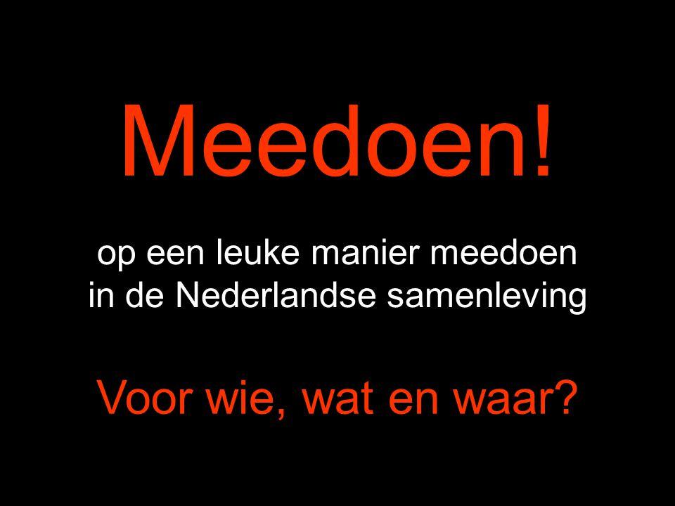 Meedoen! op een leuke manier meedoen in de Nederlandse samenleving Voor wie, wat en waar