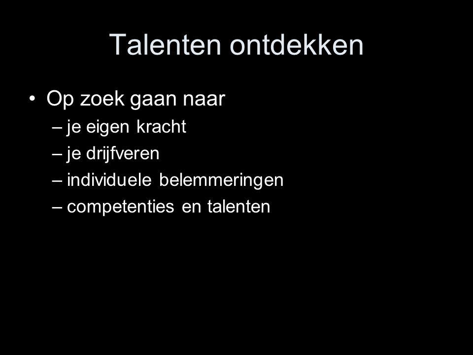 Talenten ontdekken Op zoek gaan naar –je eigen kracht –je drijfveren –individuele belemmeringen –competenties en talenten