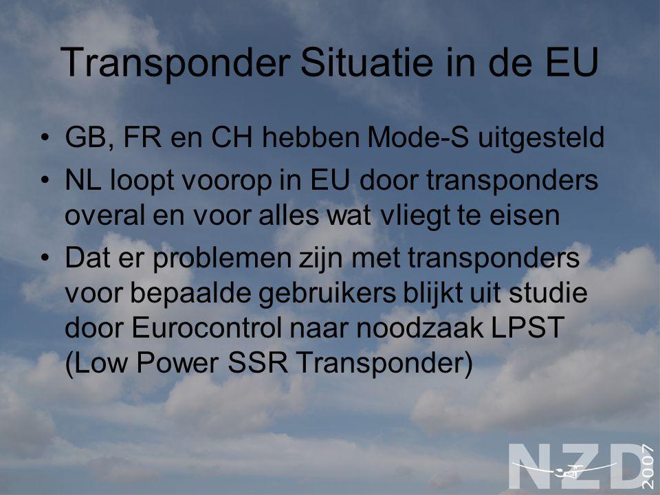Transponder Situatie in de EU GB, FR en CH hebben Mode-S uitgesteld NL loopt voorop in EU door transponders overal en voor alles wat vliegt te eisen D