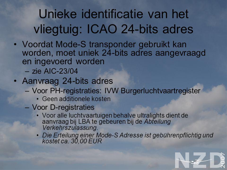 Unieke identificatie van het vliegtuig: ICAO 24-bits adres Voordat Mode-S transponder gebruikt kan worden, moet uniek 24-bits adres aangevraagd en ing