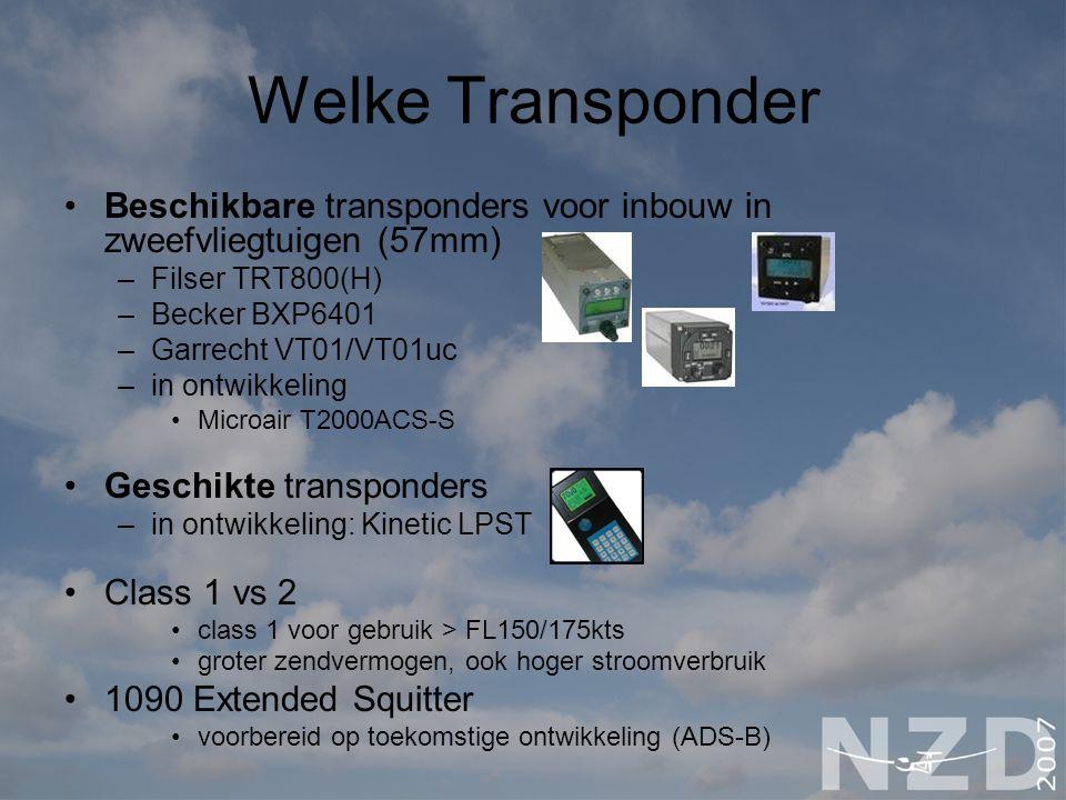 Welke Transponder Beschikbare transponders voor inbouw in zweefvliegtuigen (57mm) –Filser TRT800(H) –Becker BXP6401 –Garrecht VT01/VT01uc –in ontwikke