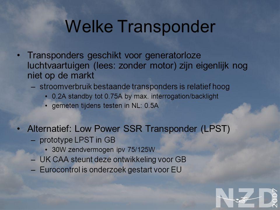 Welke Transponder Transponders geschikt voor generatorloze luchtvaartuigen (lees: zonder motor) zijn eigenlijk nog niet op de markt –stroomverbruik be