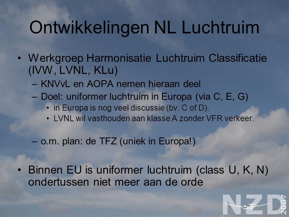Ontwikkelingen NL Luchtruim Werkgroep Harmonisatie Luchtruim Classificatie (IVW, LVNL, KLu) –KNVvL en AOPA nemen hieraan deel –Doel: uniformer luchtru