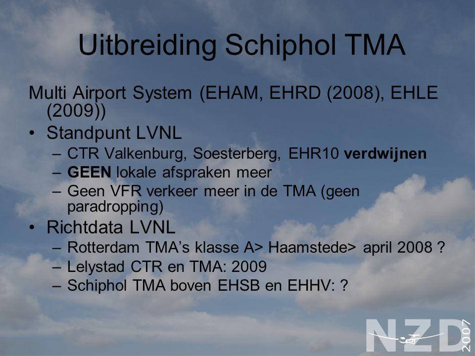 Uitbreiding Schiphol TMA Multi Airport System (EHAM, EHRD (2008), EHLE (2009)) Standpunt LVNL –CTR Valkenburg, Soesterberg, EHR10 verdwijnen –GEEN lok