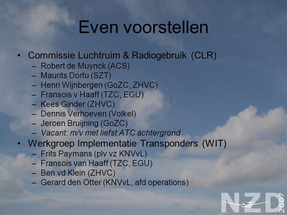 Even voorstellen Commissie Luchtruim & Radiogebruik (CLR) –Robert de Muynck (ACS) –Maurits Dortu (SZT) –Henri Wijnbergen (GoZC, ZHVC) –Fransois v Haaf