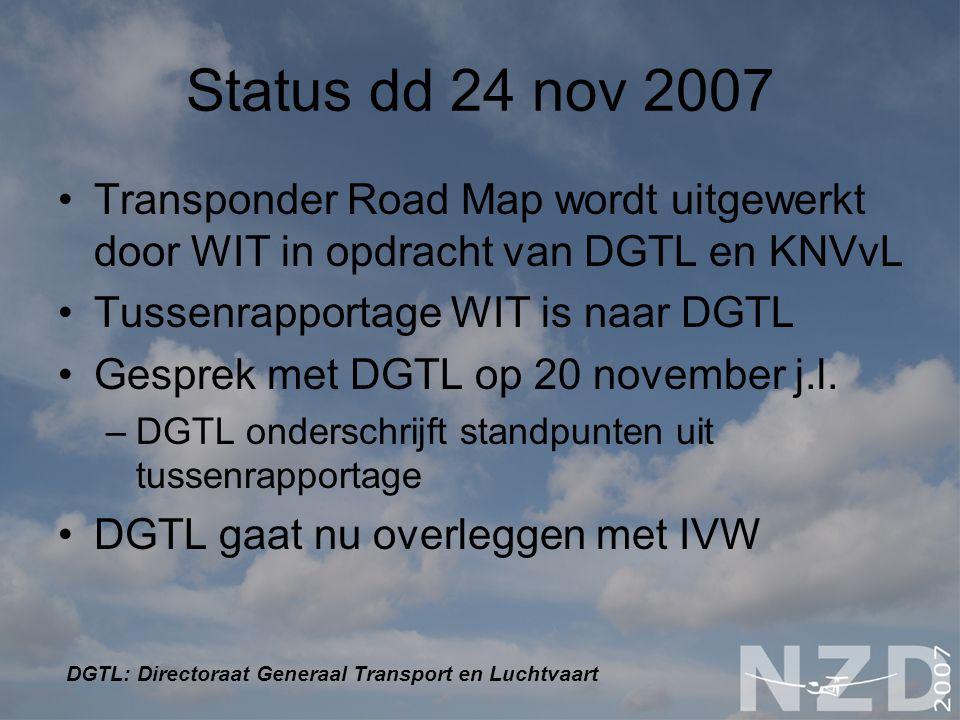 Status dd 24 nov 2007 Transponder Road Map wordt uitgewerkt door WIT in opdracht van DGTL en KNVvL Tussenrapportage WIT is naar DGTL Gesprek met DGTL