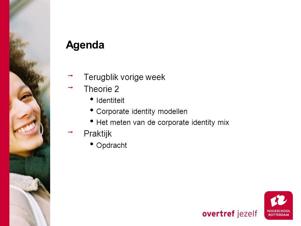 Agenda Terugblik vorige week Theorie 2 Identiteit Corporate identity modellen Het meten van de corporate identity mix Praktijk Opdracht