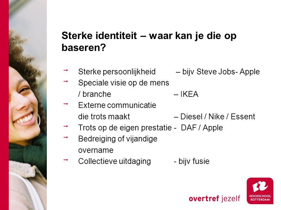 Sterke identiteit – waar kan je die op baseren? Sterke persoonlijkheid – bijv Steve Jobs- Apple Speciale visie op de mens / branche – IKEA Externe com