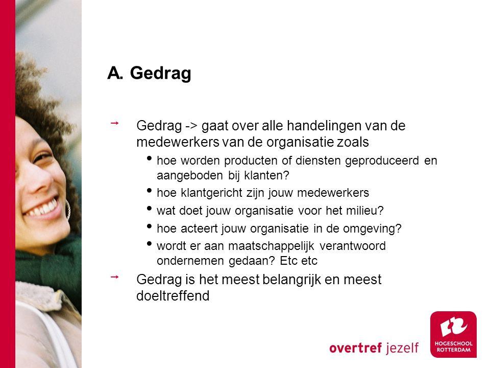 A. Gedrag Gedrag -> gaat over alle handelingen van de medewerkers van de organisatie zoals hoe worden producten of diensten geproduceerd en aangeboden
