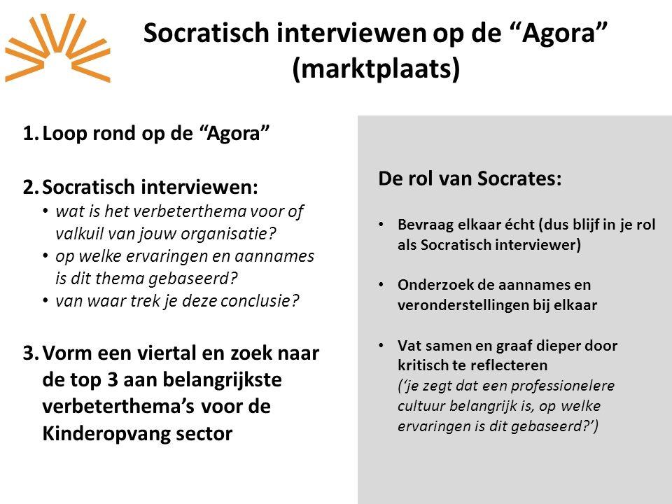"""1.Loop rond op de """"Agora"""" 2.Socratisch interviewen: wat is het verbeterthema voor of valkuil van jouw organisatie? op welke ervaringen en aannames is"""