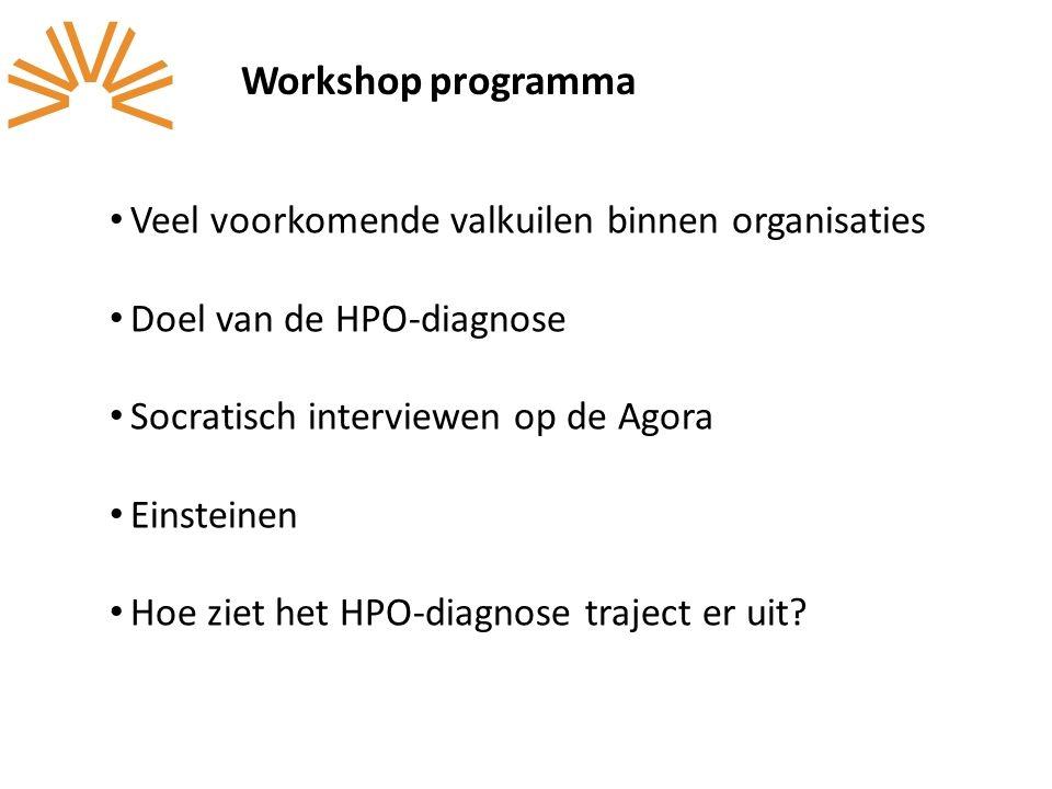 Workshop programma Veel voorkomende valkuilen binnen organisaties Doel van de HPO-diagnose Socratisch interviewen op de Agora Einsteinen Hoe ziet het