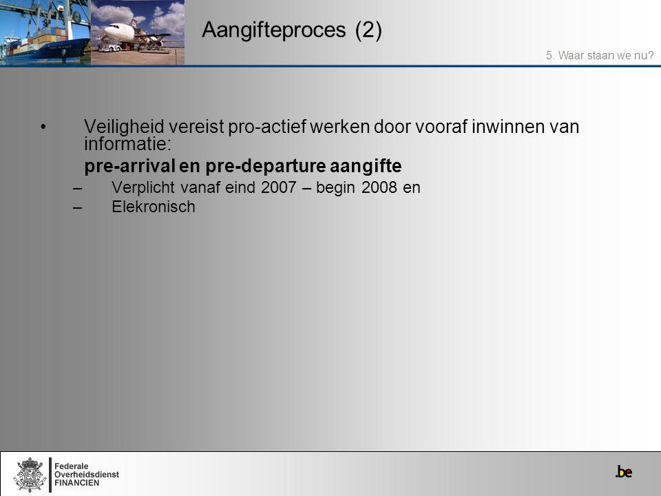 Veiligheid vereist pro-actief werken door vooraf inwinnen van informatie: pre-arrival en pre-departure aangifte –Verplicht vanaf eind 2007 – begin 200