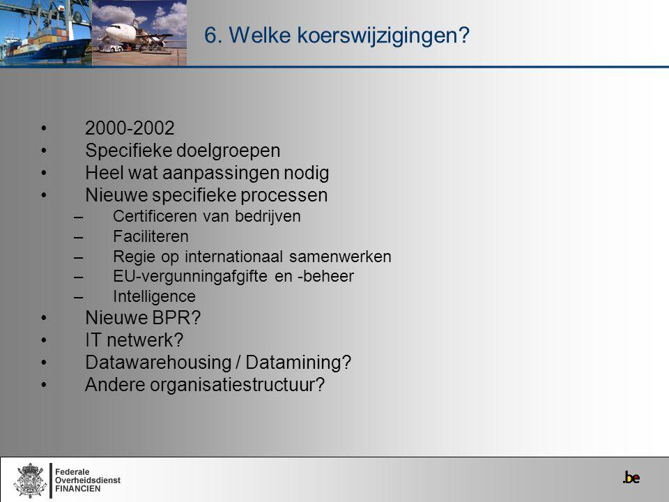 2000-2002 Specifieke doelgroepen Heel wat aanpassingen nodig Nieuwe specifieke processen –Certificeren van bedrijven –Faciliteren –Regie op internatio