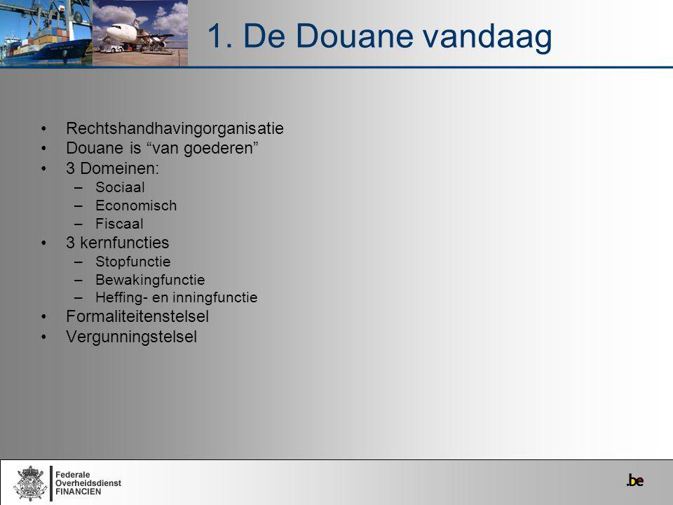 """Rechtshandhavingorganisatie Douane is """"van goederen"""" 3 Domeinen: –Sociaal –Economisch –Fiscaal 3 kernfuncties –Stopfunctie –Bewakingfunctie –Heffing-"""