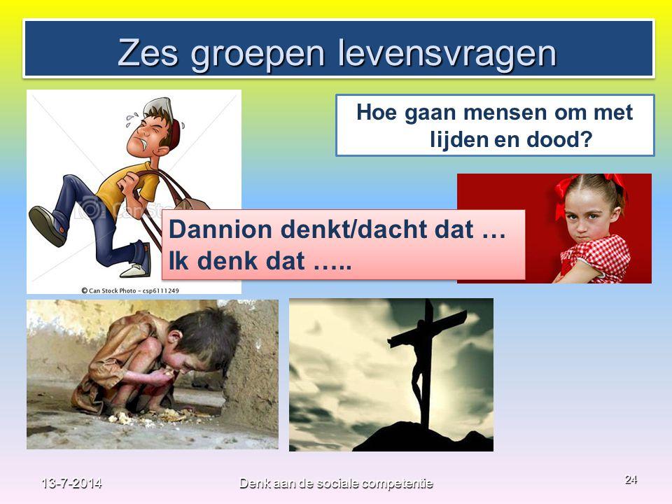 Zes groepen levensvragen 24 Hoe gaan mensen om met lijden en dood? Dannion denkt/dacht dat … Ik denk dat ….. Dannion denkt/dacht dat … Ik denk dat …..
