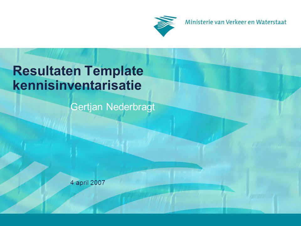 4 april 2007 Resultaten Template kennisinventarisatie Gertjan Nederbragt