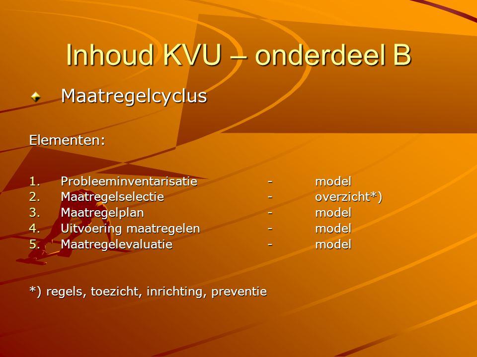 Inhoud KVU – onderdeel B MaatregelcyclusElementen: 1.Probleeminventarisatie-model 2.Maatregelselectie -overzicht*) 3.Maatregelplan- model 4.Uitvoering
