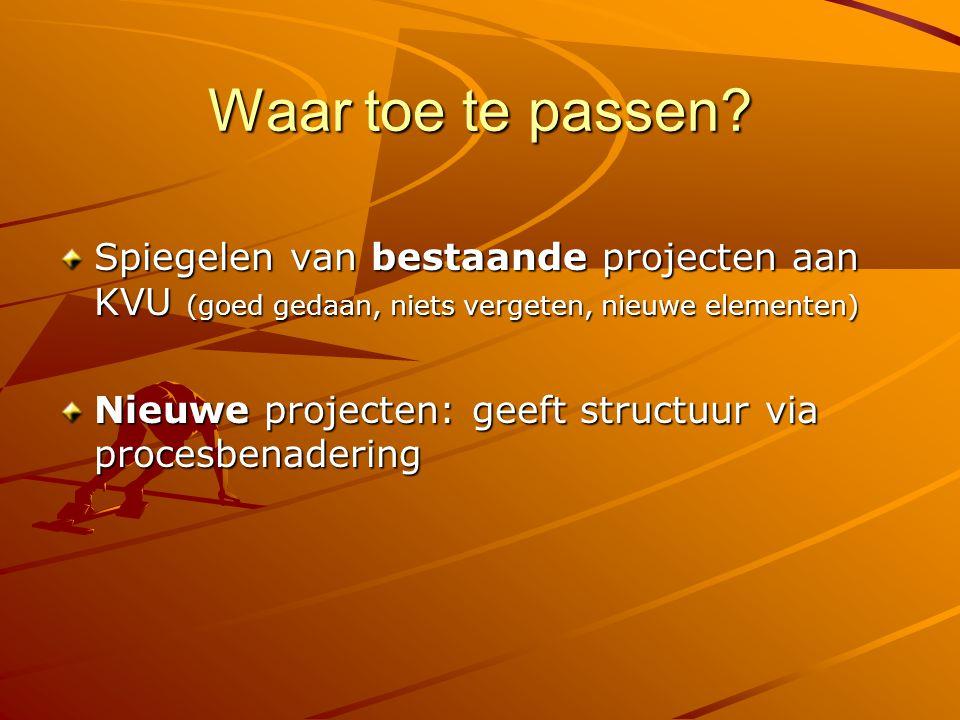Waar toe te passen? Spiegelen van bestaande projecten aan KVU (goed gedaan, niets vergeten, nieuwe elementen) Nieuwe projecten: geeft structuur via pr