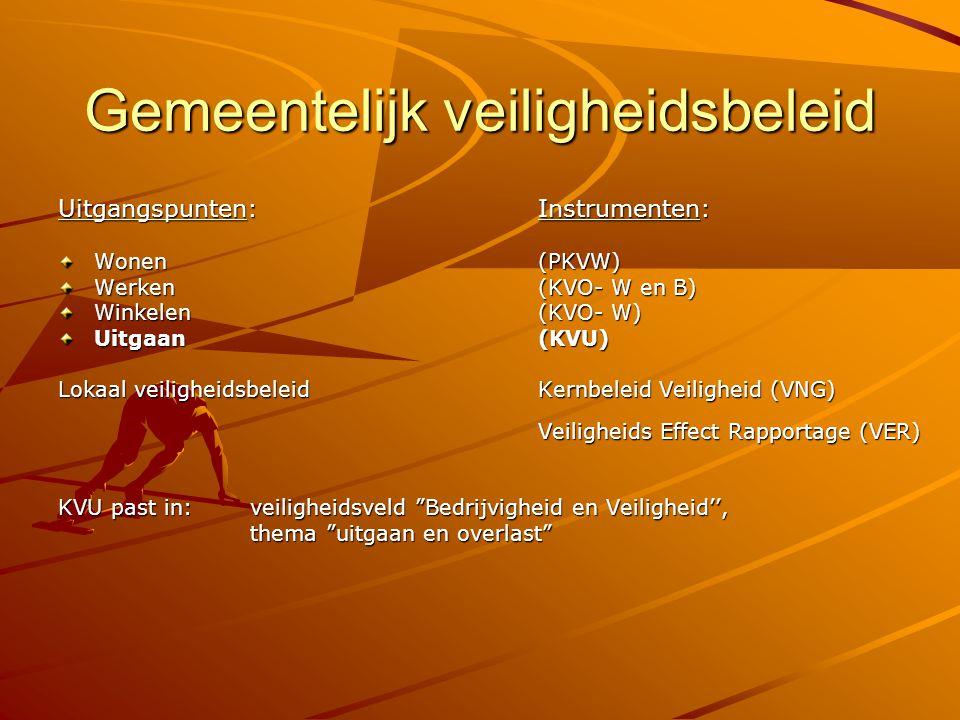 Gemeentelijk veiligheidsbeleid Uitgangspunten:Instrumenten: Wonen(PKVW) Werken (KVO- W en B) Winkelen (KVO- W) Uitgaan(KVU) Lokaal veiligheidsbeleid K