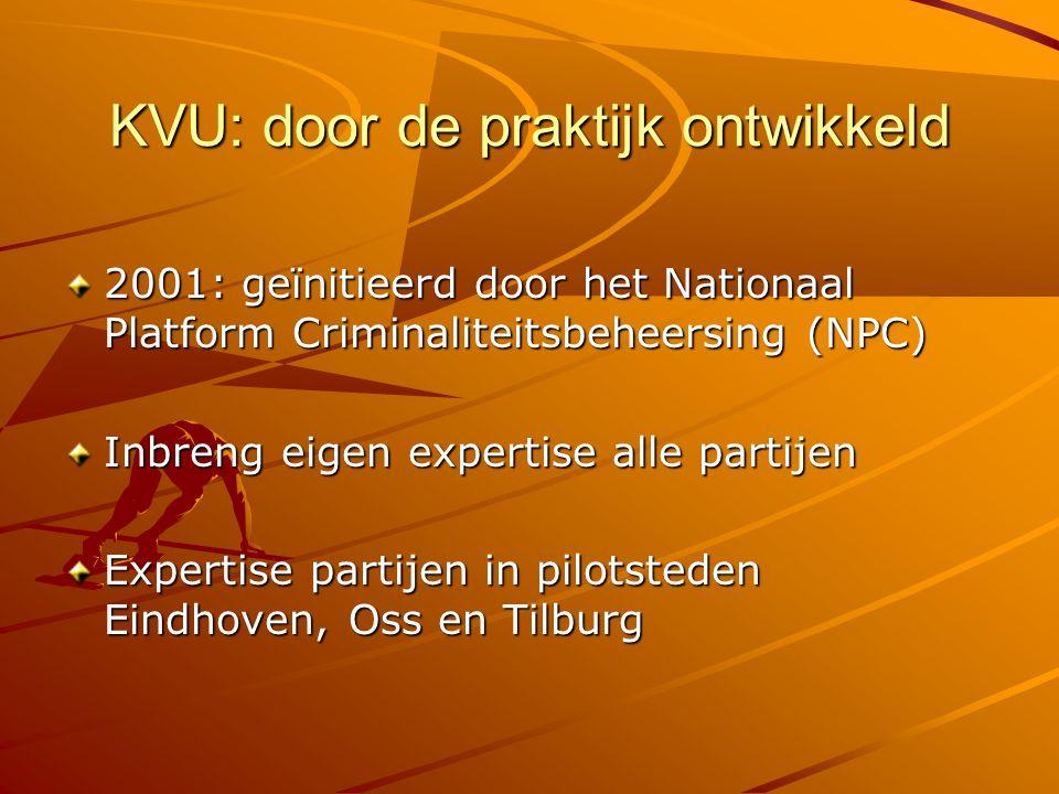 KVU: door de praktijk ontwikkeld 2001: geïnitieerd door het Nationaal Platform Criminaliteitsbeheersing (NPC) Inbreng eigen expertise alle partijen Ex
