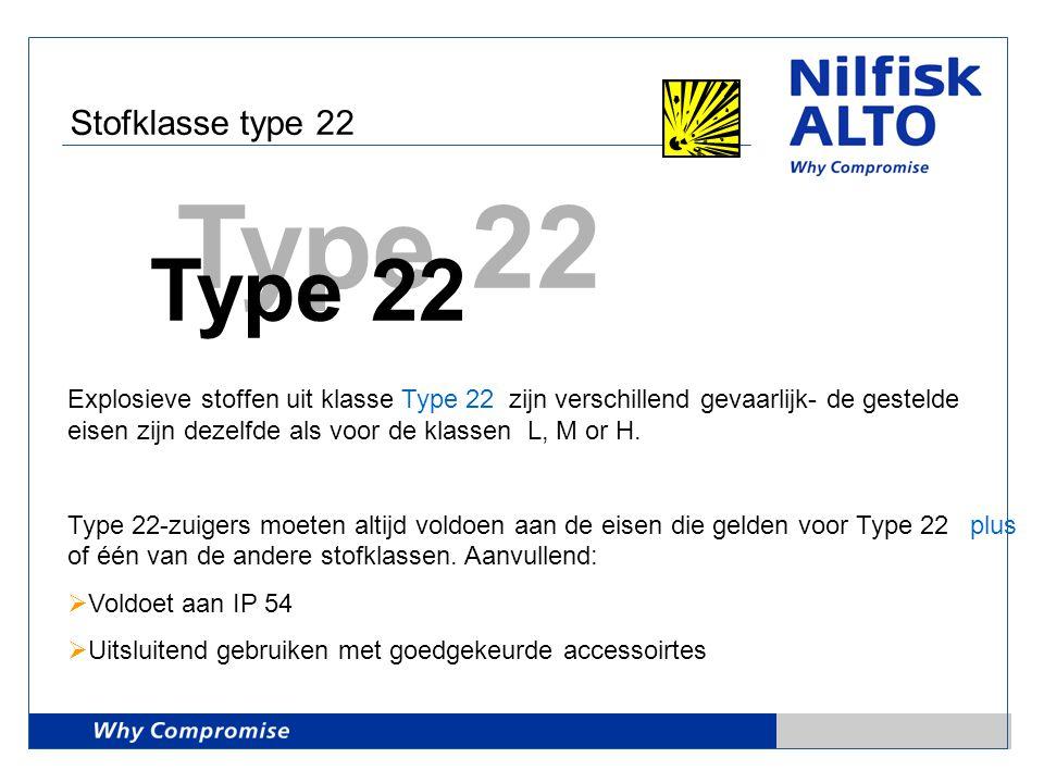 Stofklasse type 22 Type 22 Explosieve stoffen uit klasse Type 22 zijn verschillend gevaarlijk- de gestelde eisen zijn dezelfde als voor de klassen L,