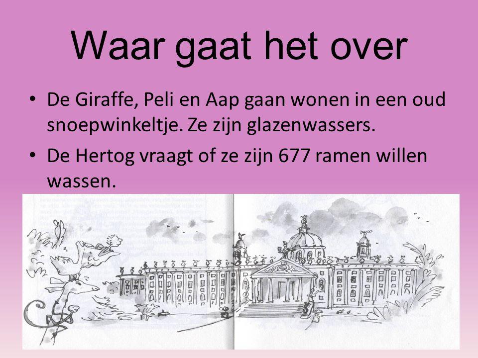 De Giraffe, Peli en Aap gaan wonen in een oud snoepwinkeltje. Ze zijn glazenwassers. De Hertog vraagt of ze zijn 677 ramen willen wassen.