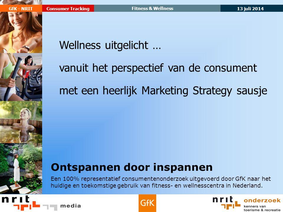 13 juli 2014 GfK - NRIT Fitness & Wellness Consumer Tracking Ontspannen door inspannen Een 100% representatief consumentenonderzoek uitgevoerd door GfK naar het huidige en toekomstige gebruik van fitness- en wellnesscentra in Nederland.