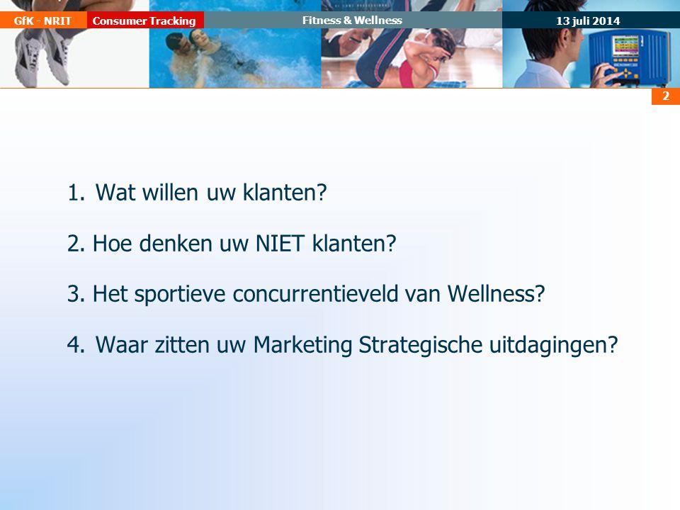 13 juli 2014 Consumer TrackingGfK - NRIT Fitness & Wellness 2 1.Wat willen uw klanten.