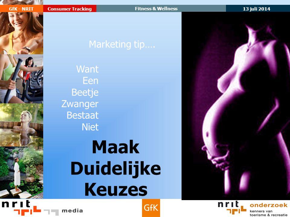 13 juli 2014 GfK - NRIT Fitness & Wellness Consumer Tracking Maak Duidelijke Keuzes Marketing tip….