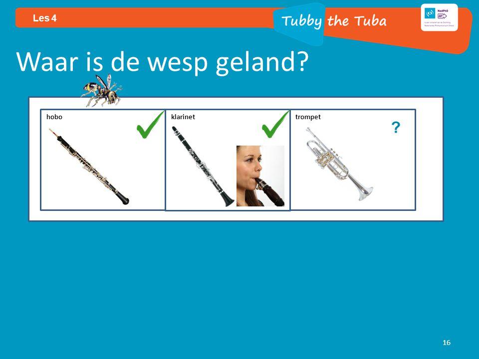 16 Les 4 Waar is de wesp geland? ? hobo klarinettrompet