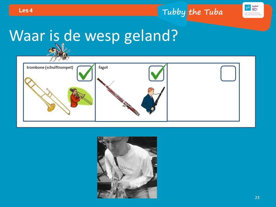 21 Les 4 Waar is de wesp geland? trombone (schuiftrompet) fagot