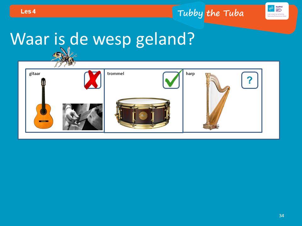 34 Les 4 Waar is de wesp geland? ? gitaar trommel harp