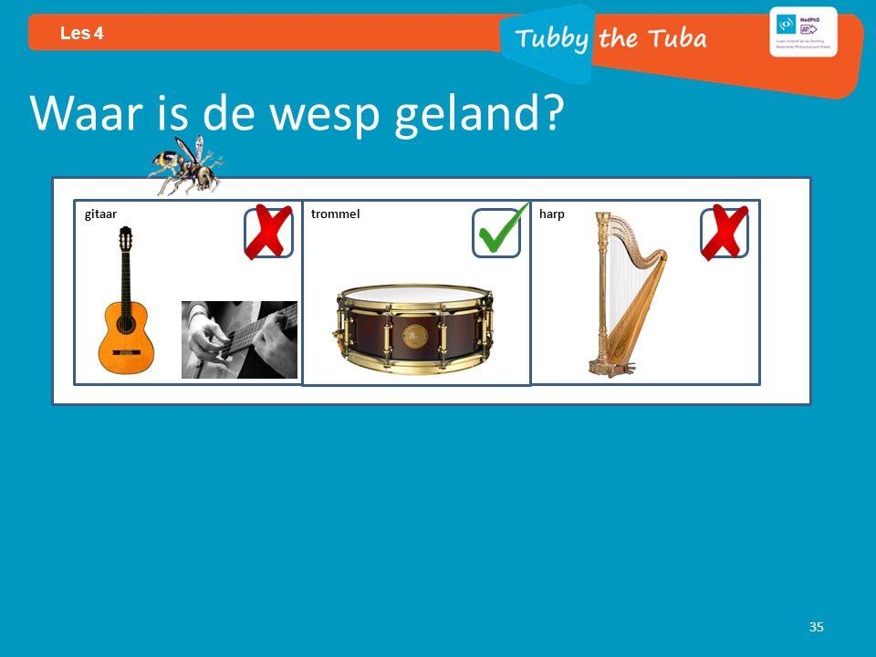 35 Les 4 Waar is de wesp geland? gitaar trommel harp