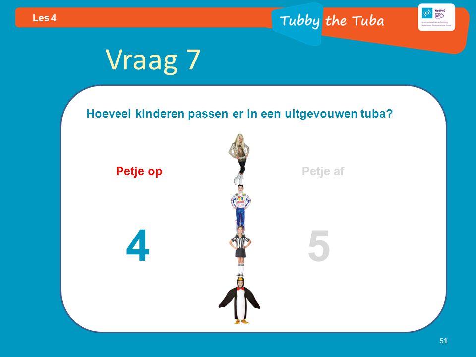 51 Les 4 Vraag 7 Hoeveel kinderen passen er in een uitgevouwen tuba? Petje op Petje af 4 5
