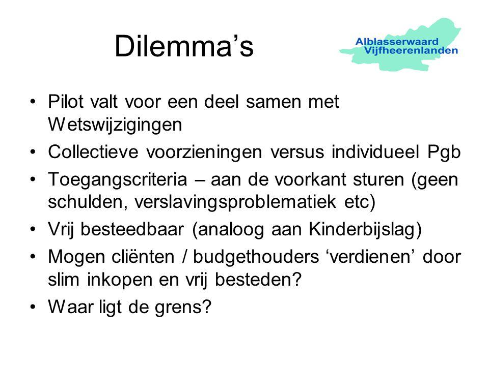Dilemma's Pilot valt voor een deel samen met Wetswijzigingen Collectieve voorzieningen versus individueel Pgb Toegangscriteria – aan de voorkant sture
