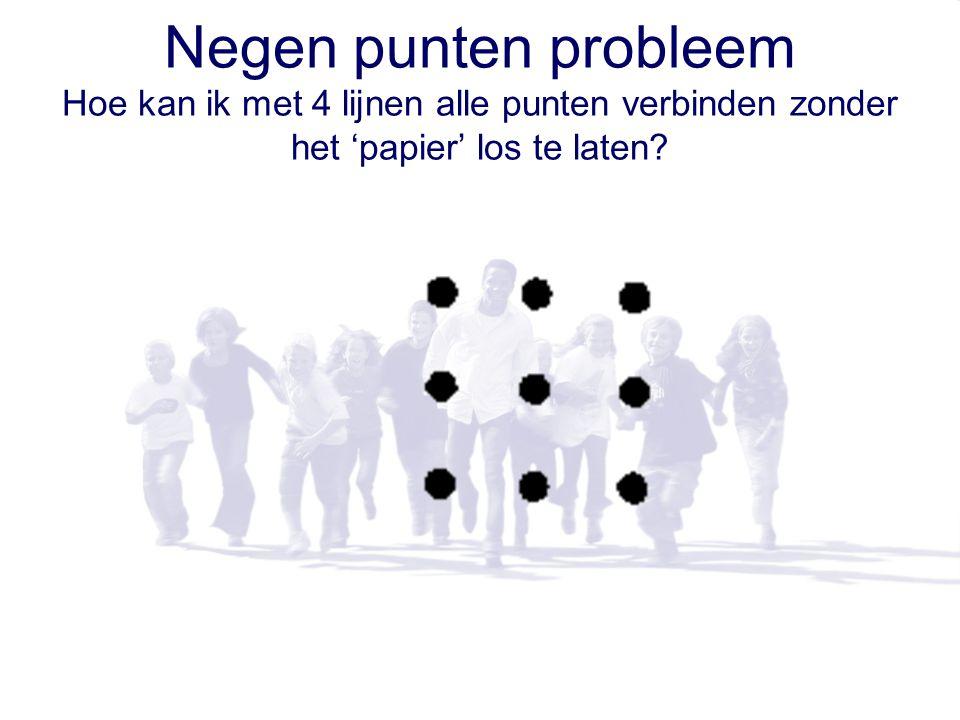 Negen punten probleem Hoe kan ik met 4 lijnen alle punten verbinden zonder het 'papier' los te laten?