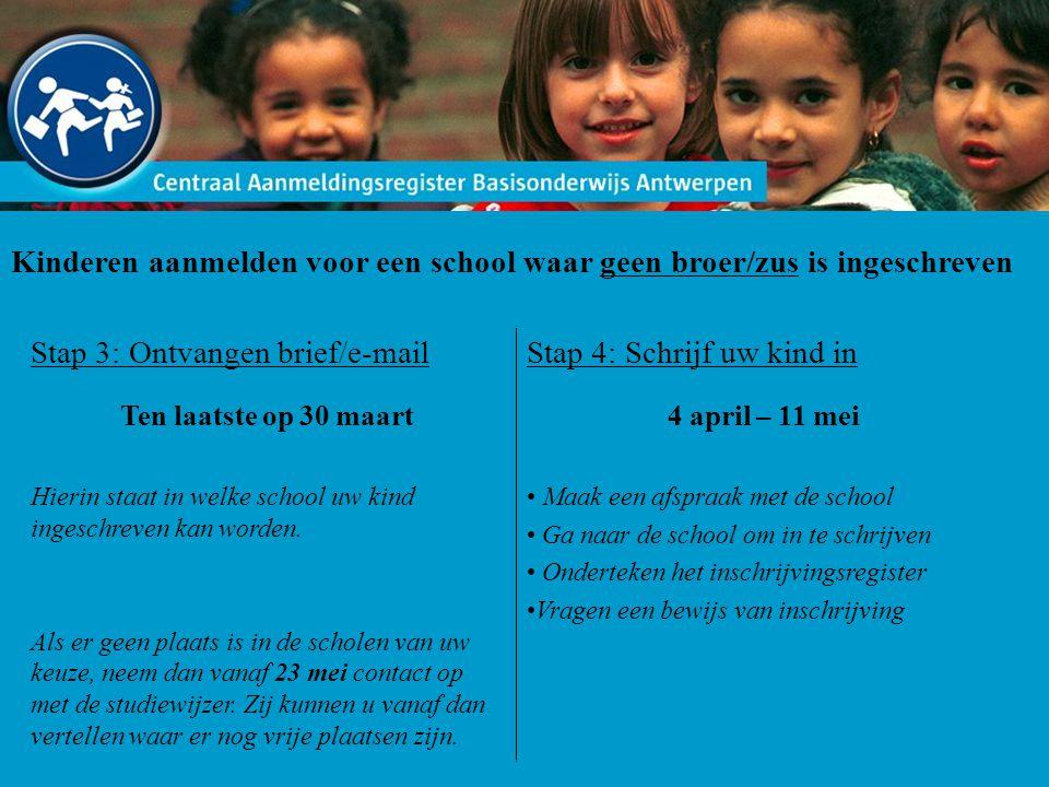 Kinderen aanmelden voor een school waar geen broer/zus is ingeschreven Stap 3: Ontvangen brief/e-mail Ten laatste op 30 maart Hierin staat in welke school uw kind ingeschreven kan worden.