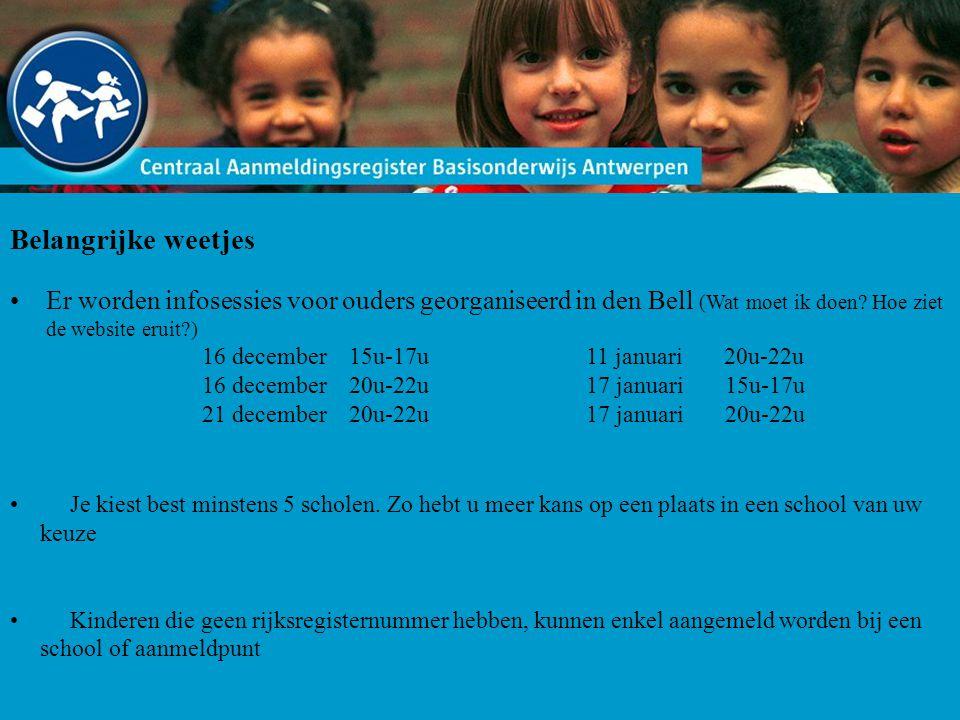 Belangrijke weetjes Er worden infosessies voor ouders georganiseerd in den Bell (Wat moet ik doen? Hoe ziet de website eruit?) 16 december 15u-17u11 j