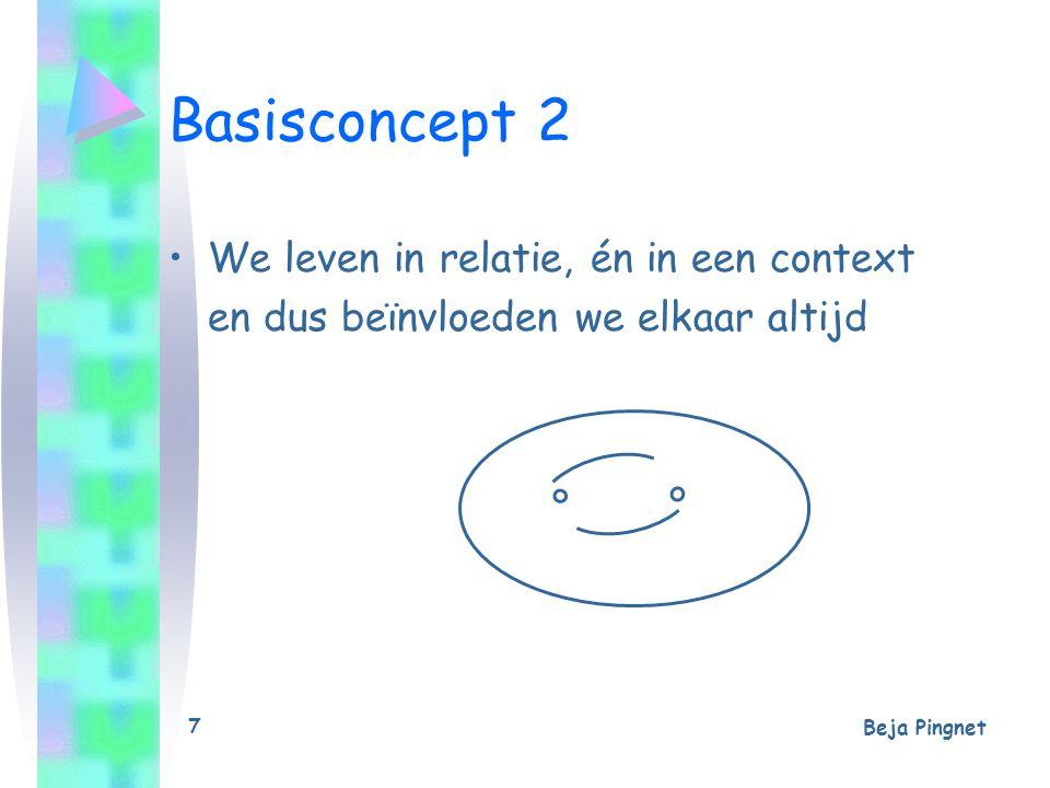 Beja Pingnet 7 Basisconcept 2 We leven in relatie, én in een context en dus beïnvloeden we elkaar altijd