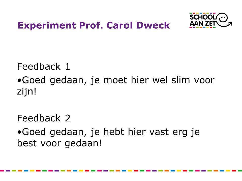 Experiment Prof. Carol Dweck Feedback 1 Goed gedaan, je moet hier wel slim voor zijn! Feedback 2 Goed gedaan, je hebt hier vast erg je best voor gedaa