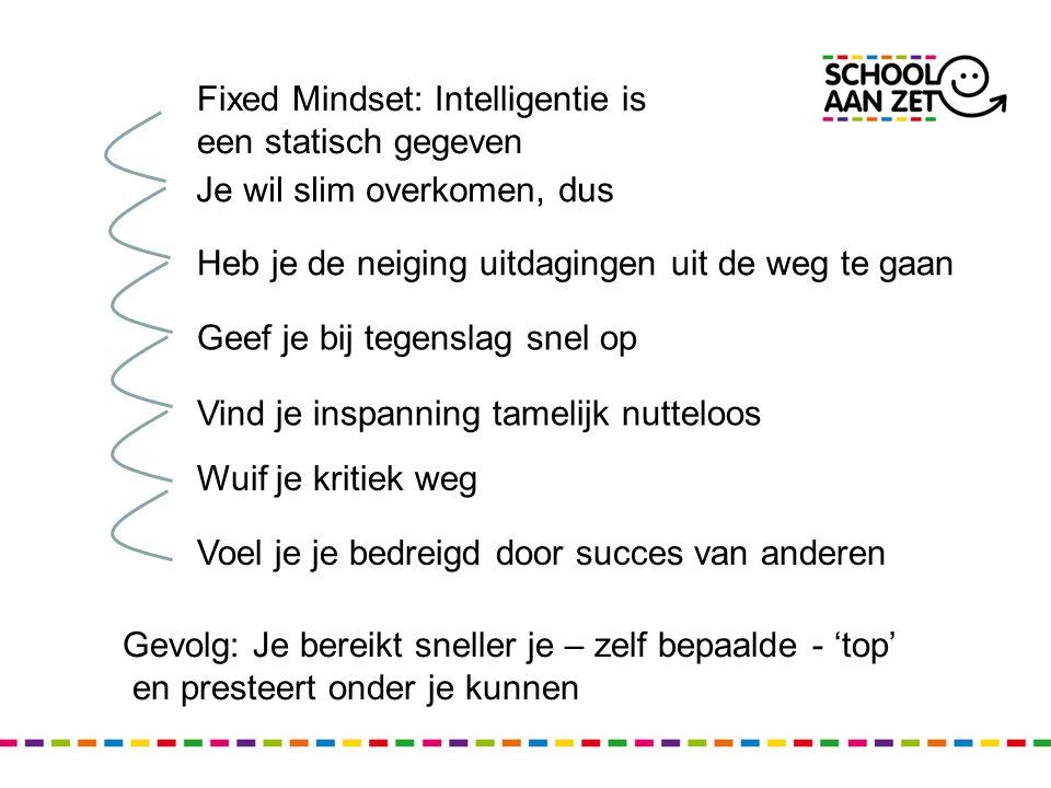 Fixed Mindset: Intelligentie is een statisch gegeven Je wil slim overkomen, dus Heb je de neiging uitdagingen uit de weg te gaan Geef je bij tegenslag