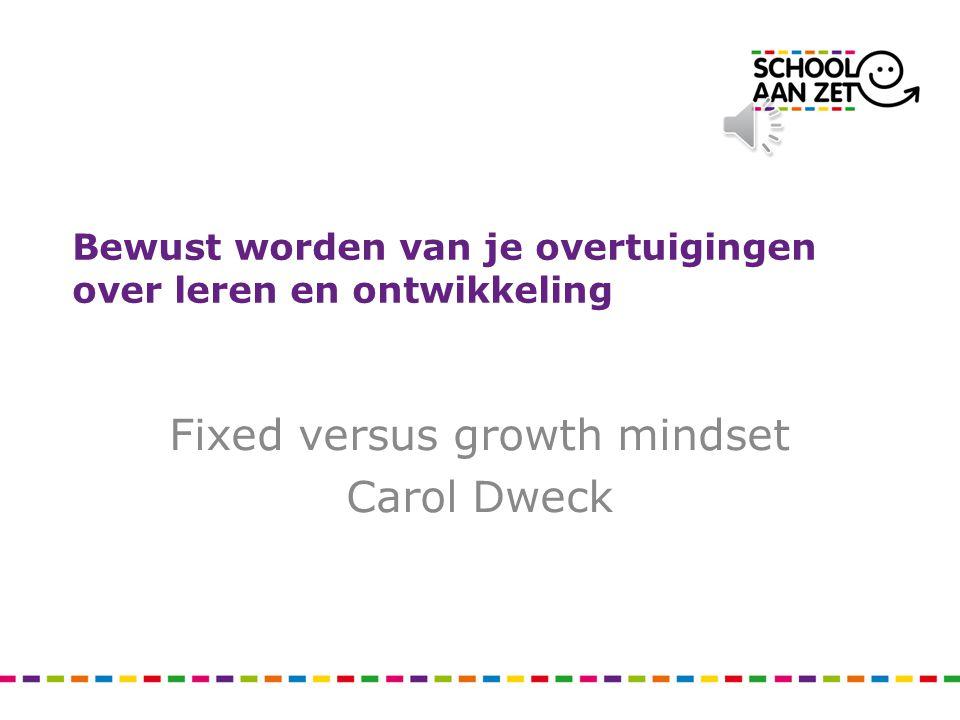 Bewust worden van je overtuigingen over leren en ontwikkeling Fixed versus growth mindset Carol Dweck