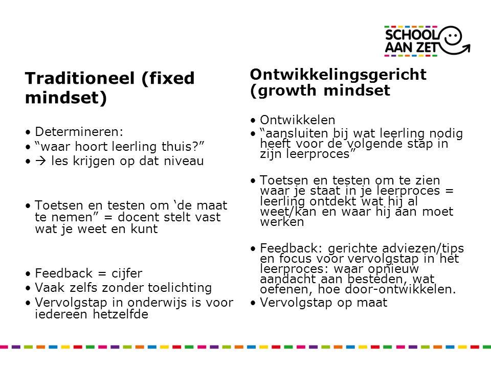 """Traditioneel (fixed mindset) Determineren: """"waar hoort leerling thuis?""""  les krijgen op dat niveau Toetsen en testen om 'de maat te nemen"""" = docent s"""